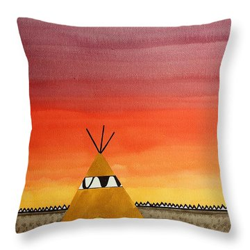 Tepee Or Not Tepee Original Painting Throw Pillow