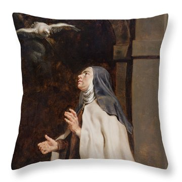 Teresa Of Avilas Vision Of A Dove Throw Pillow by Peter Paul Rubens
