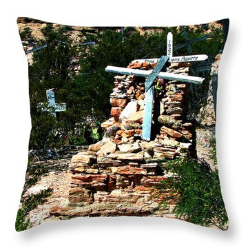 Throw Pillow featuring the photograph Terlingua Cross by Linda Cox