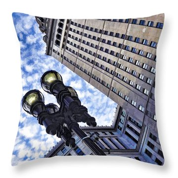 Throw Pillow featuring the photograph Terminal Tower - Cleveland Ohio - 1 by Mark Madere