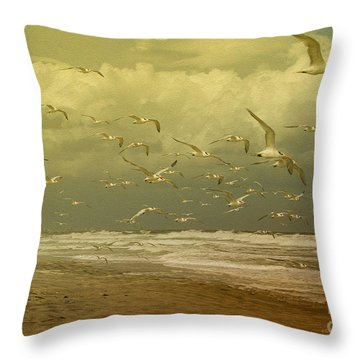 Terns In The Clouds Throw Pillow by Deborah Benoit