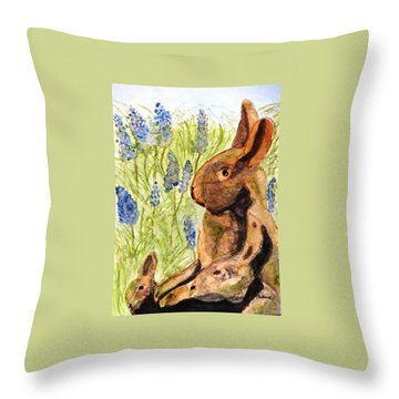 Throw Pillow featuring the painting Terra Cotta Bunny Family by Angela Davies