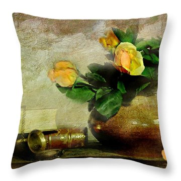 Terra Cotta Rose Throw Pillow by Diana Angstadt