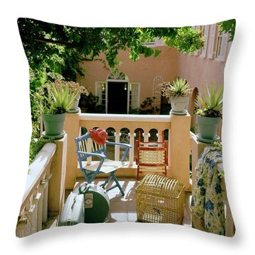 Terrace At A Guest House At Waterloo Throw Pillow