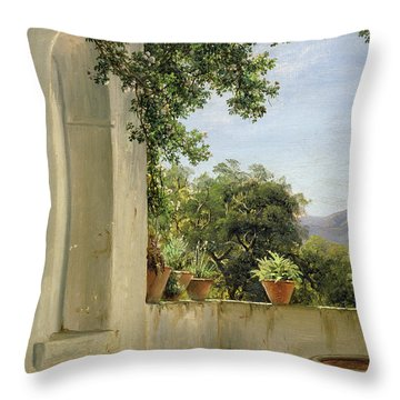 Terrace In Sorrento Throw Pillow by Thomas Fearnley