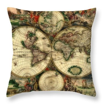 Terrarum Orbis Old World Map  Throw Pillow by Inspired Nature Photography Fine Art Photography