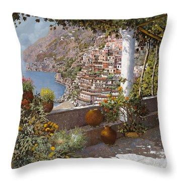 terrazza a Positano Throw Pillow by Guido Borelli
