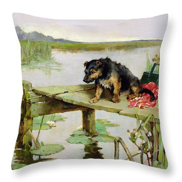 Terrier - Fishing Throw Pillow by Philip Eustace Stretton