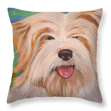 Terrier Portrait Throw Pillow by Tracey Harrington-Simpson