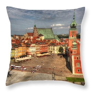 Throw Pillow featuring the photograph Terrific Warsaw - The Castle And Old Town View by Julis Simo