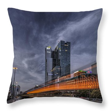 Throw Pillow featuring the photograph Terrific Warsaw With Zoom Perspective From Jerozolimskie To Rondo One by Julis Simo