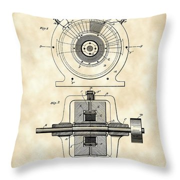 Tesla Alternating Electric Current Generator Patent 1891 - Vintage Throw Pillow