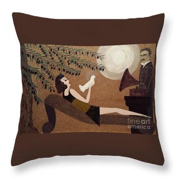 Tesla And White Dove Throw Pillow by Jasna Gopic