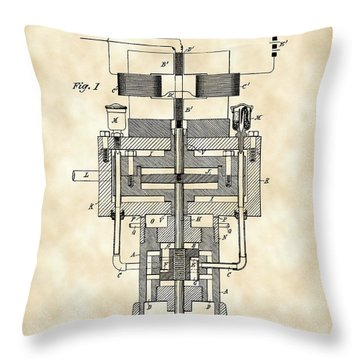 Tesla Electric Generator Patent 1894 - Vintage Throw Pillow by Stephen Younts