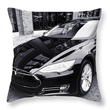 Tesla Model S Throw Pillow by Olivier Le Queinec