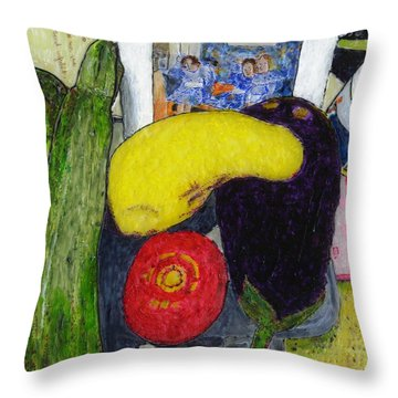 Tess' Vegetables Throw Pillow by Phil Strang