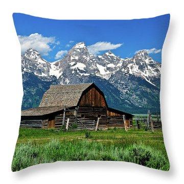 Teton Barn Throw Pillow by Greg Norrell
