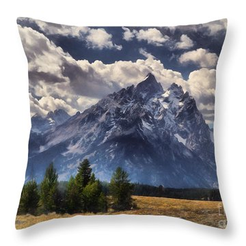 Teton Clouds Throw Pillow