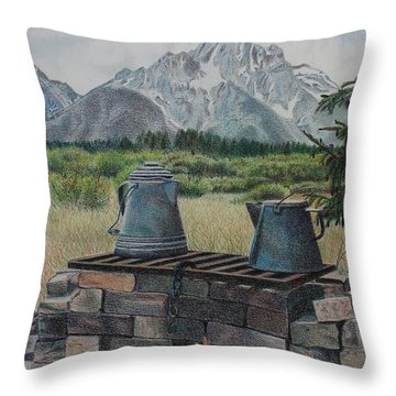 Throw Pillow featuring the drawing Teton Cook Site by Scott Kingery