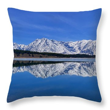 Teton End Of Winter Reflections Throw Pillow