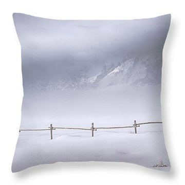Throw Pillow featuring the photograph Teton Morning by Priscilla Burgers