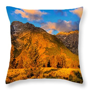Throw Pillow featuring the photograph Teton Mountain View Panorama by Greg Norrell