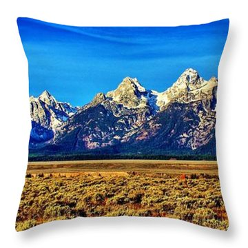 Throw Pillow featuring the photograph Teton Panorama by Benjamin Yeager