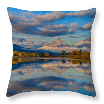 Teton Panoramic Reflections At Oxbow Bend Throw Pillow