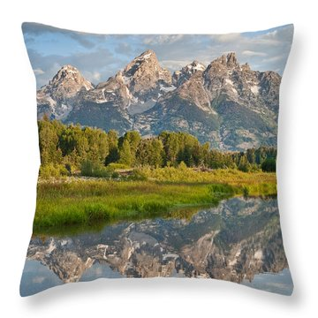 Throw Pillow featuring the photograph Teton Range Reflected In The Snake River by Jeff Goulden