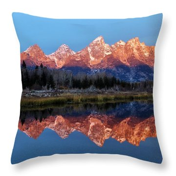 Throw Pillow featuring the photograph Teton Sunrise by Benjamin Yeager