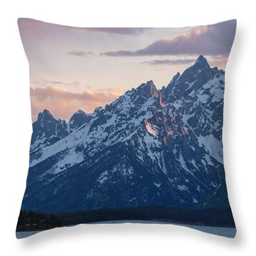 Throw Pillow featuring the photograph Teton Sunset On Jackson Lake by Aaron Spong