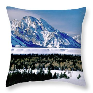 Teton Valley Winter Grand Teton National Park Throw Pillow by Ed  Riche