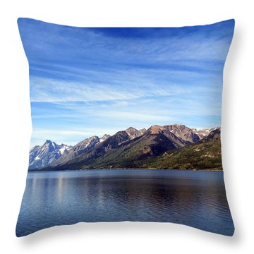 Tetons By The Lake Throw Pillow