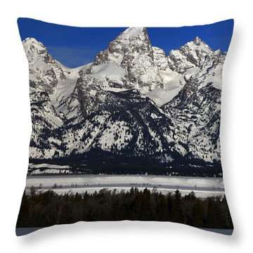 Tetons From Glacier View Overlook Throw Pillow