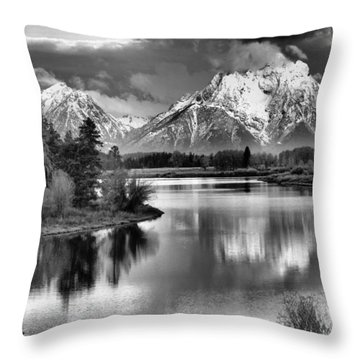 Tetons In Black And White Throw Pillow by Dan Sproul