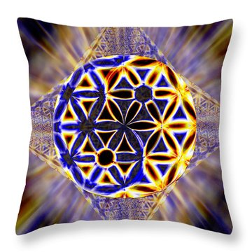 Throw Pillow featuring the drawing Tetra Balance Crystal by Derek Gedney