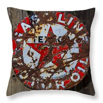 Texaco Sign Throw Pillow by Garry Gay
