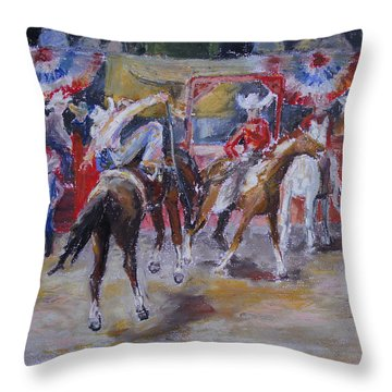 Texan Rodeo Throw Pillow by Barbara Pommerenke