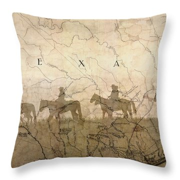 Texas And The Army Throw Pillow by Suzanne Powers