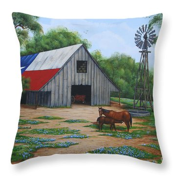 Throw Pillow featuring the painting Texas Barn by Jimmie Bartlett