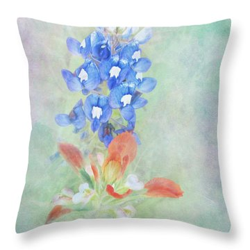 Texas Bluebonnet And Indian Paintbrush Throw Pillow