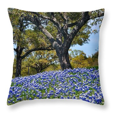 Texas Bluebonnet Hill Throw Pillow