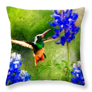 Da161 Texas Bluebonnet Hummingbird By Daniel Adams Throw Pillow