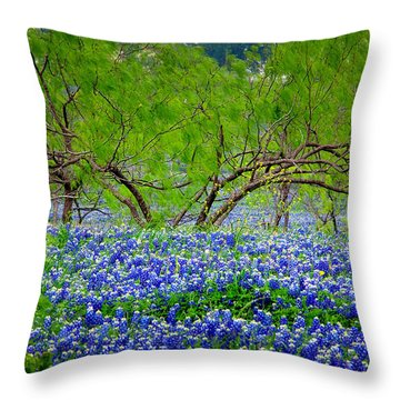 Throw Pillow featuring the photograph Texas Bluebonnets - Texas Bluebonnet Wildflowers Landscape Flowers by Jon Holiday