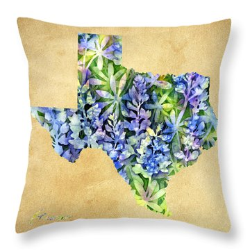 Texas Blues Texas Map Throw Pillow