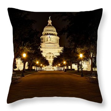 Throw Pillow featuring the photograph Texas Capitol At Night by Dave Files