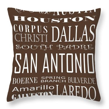 Texas Cities On Brown Throw Pillow by Debbie Karnes