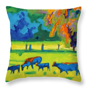 Texas Cows At Sunset Oil Painting Bertram Poole Apr14 Throw Pillow
