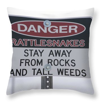 Texas Danger Rattle Snakes Signage Throw Pillow by Thomas Woolworth