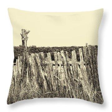 Texas Fence In Sepia Throw Pillow